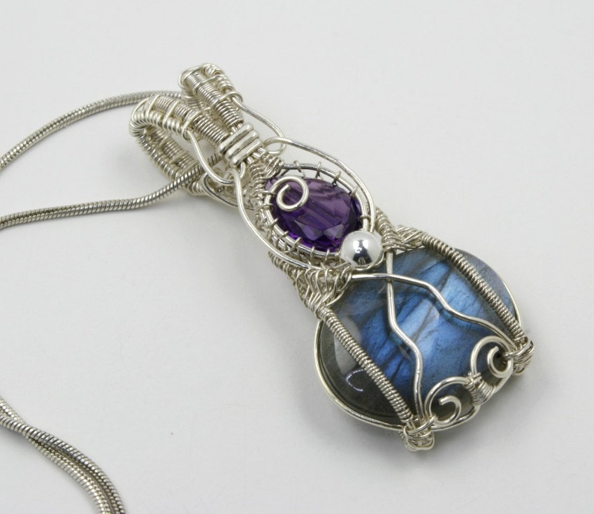 Amethyst Labradorite Sterling Wire Wrapped Pendant - Nayali