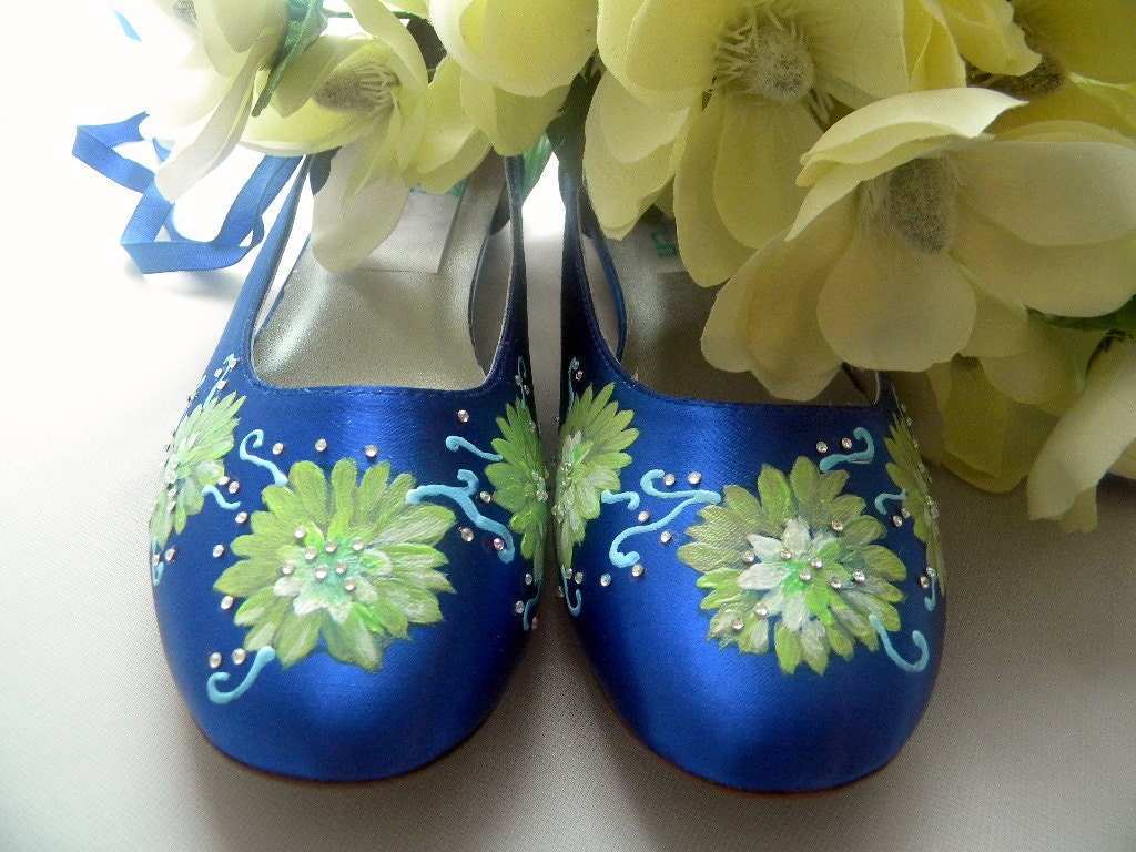 Items Similar To Wedding Shoes Sapphire Blue Personalized Flats Flowersdateinitials On Etsy