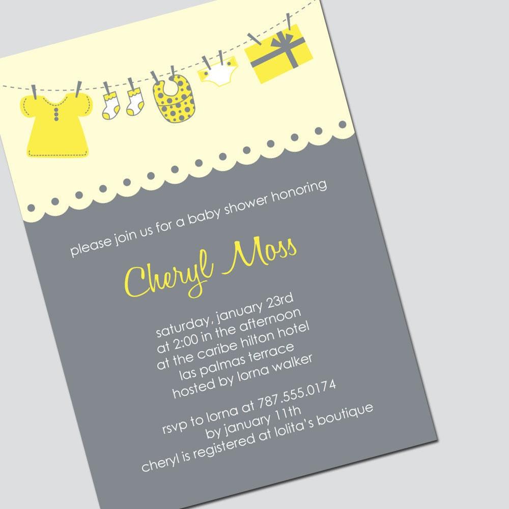 editable baby shower invitation yellow and gray by mysweetlysweet