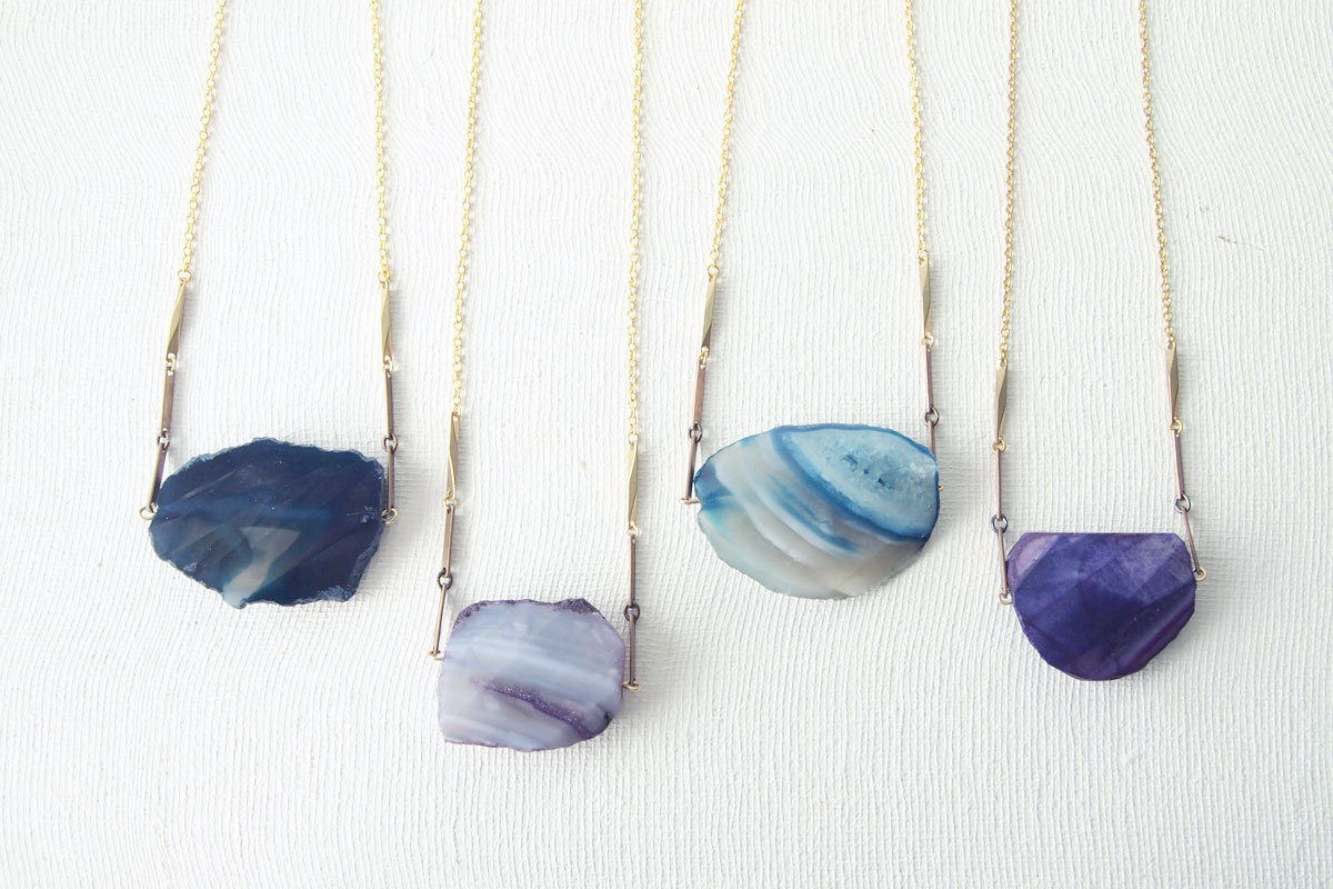 NEW STONES Statement Necklace : Summer Fashion - Raw Agate Necklace