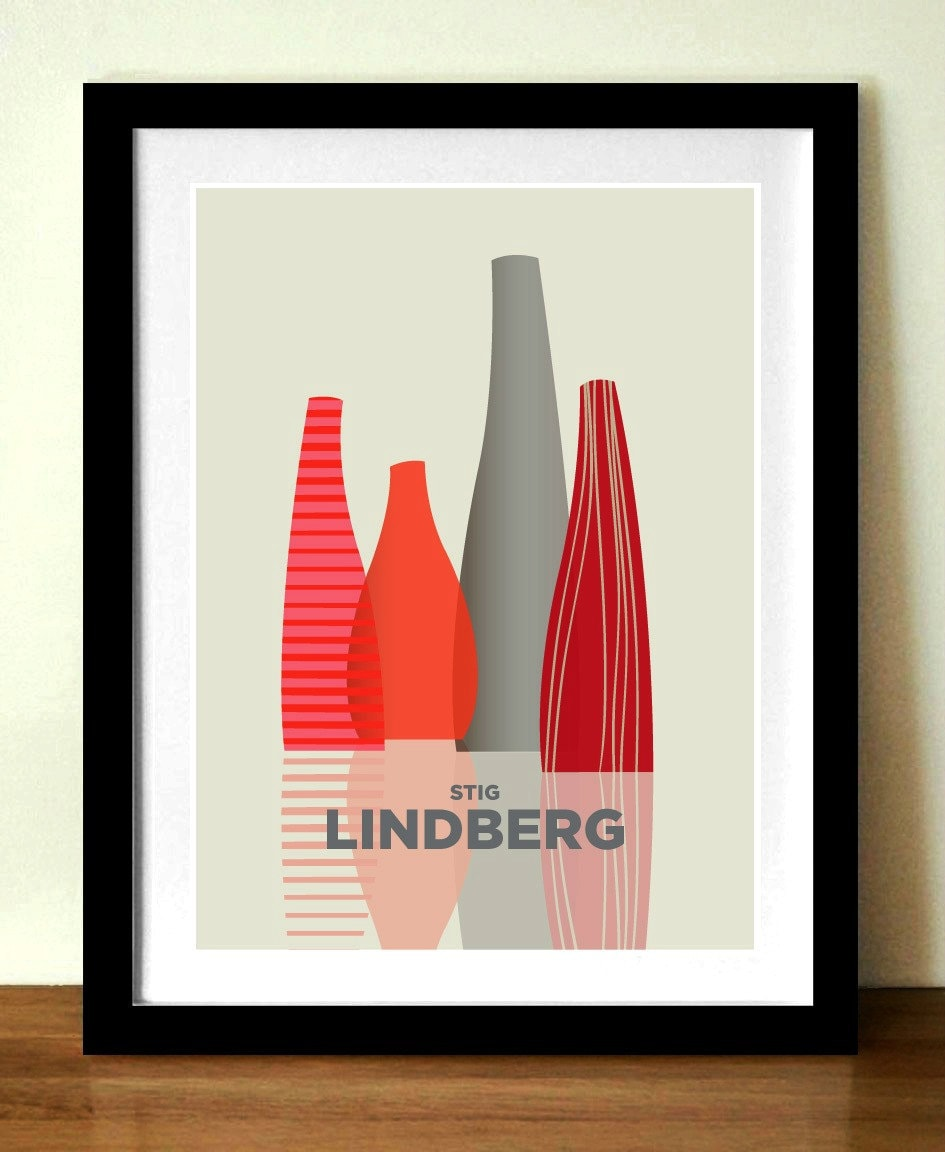 Mid century poster print, STIG LINDBERG vases, A3 print, (11 x 17 in),  artists giclée print, reds