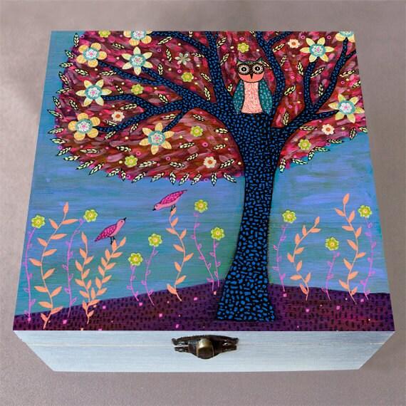 Owl Jewelry Box Autumn Owl Large Jewelry Box Wooden Trinket Box