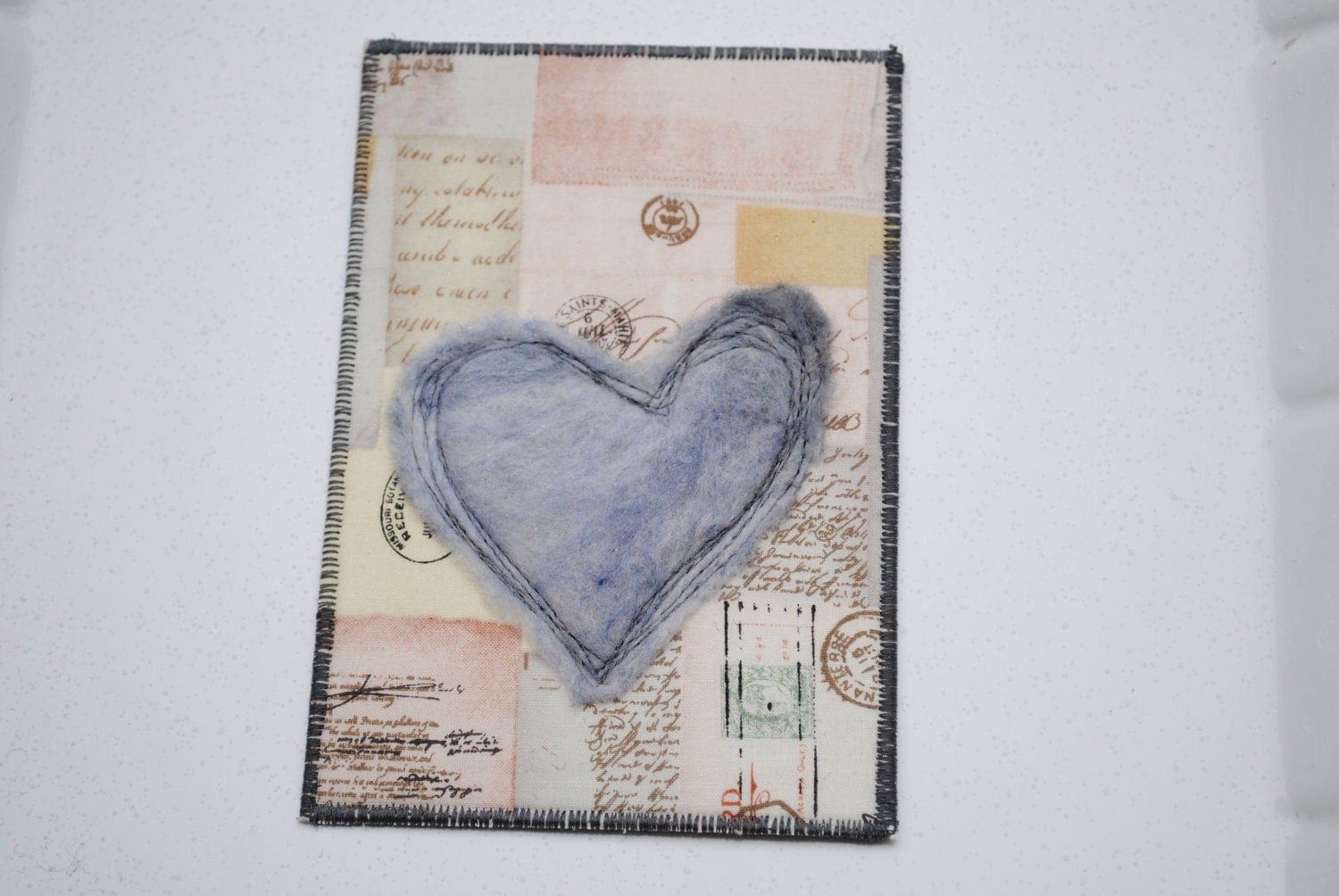Soft Heart Fabric Postcard - TheRedTin