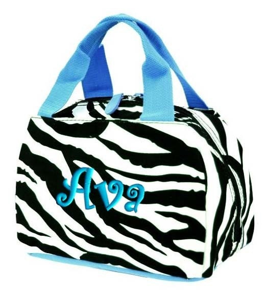 Personalized Lunch Tote Bag Zebra Blue Insulated Monogrammed