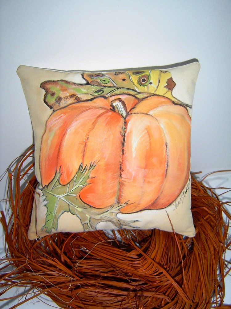 A Touch of Pumpkin - 7x7 Hand Painted Pillow-ette - Autumn Decor - Changing leaves - PAINTEDPILLOWS