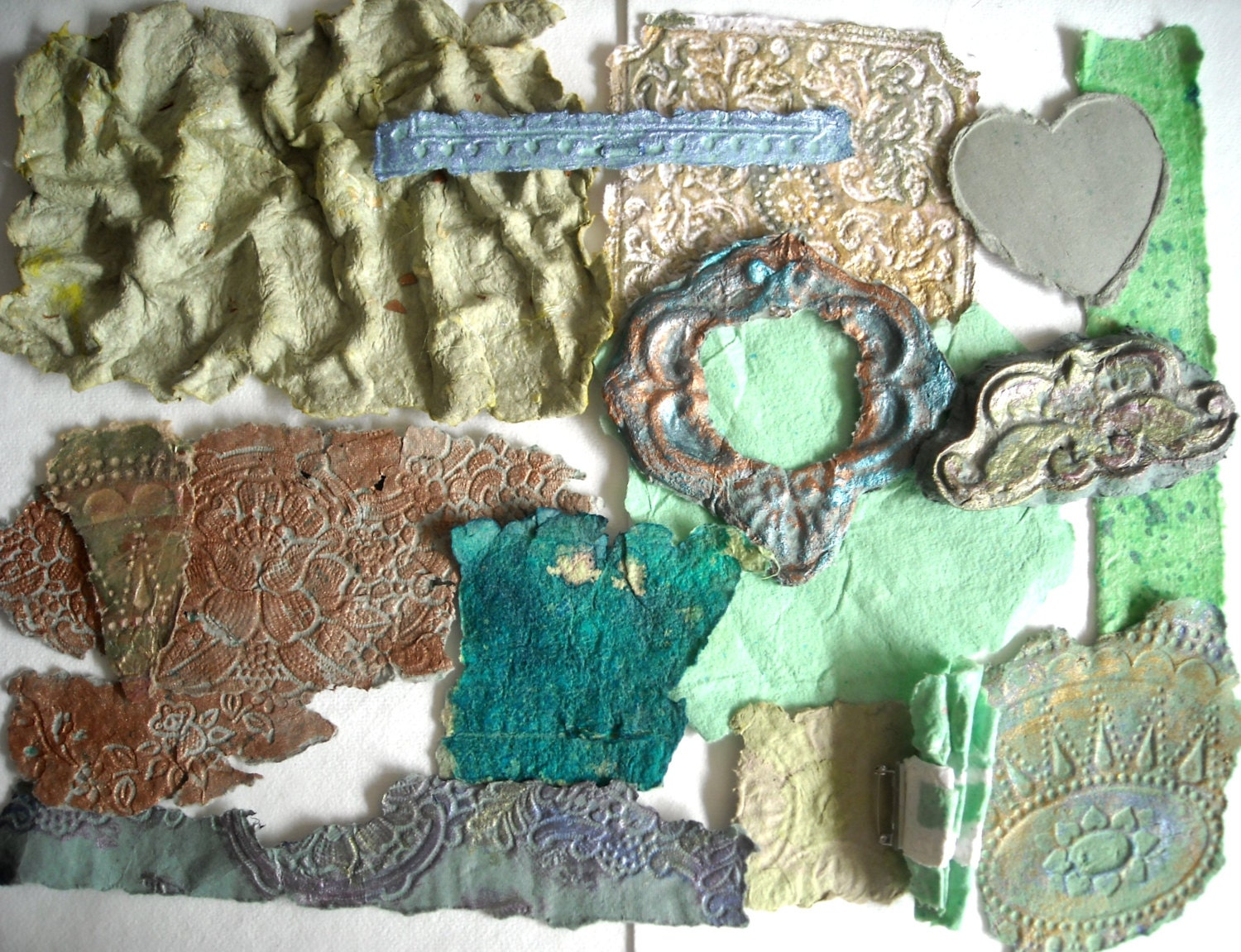 Decorative Paper, Mixed Media Collage Art, Collage Supplies, Green, Copper, Textured Paper, Handmade Paper, Mixed Media Supplies, Cast Paper - ThresholdPaperArt