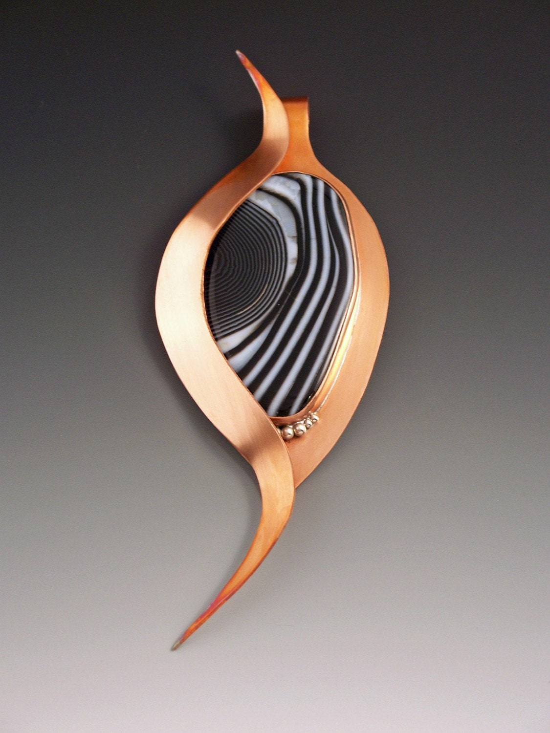 copper jewelry with agate center