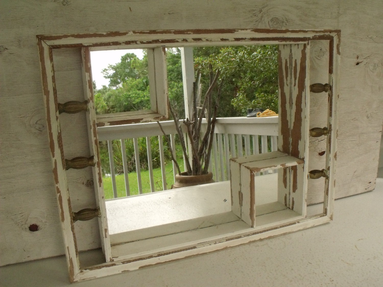 Mirror Shadow Box Shabby White Display Wood Shelf By Ktsattic