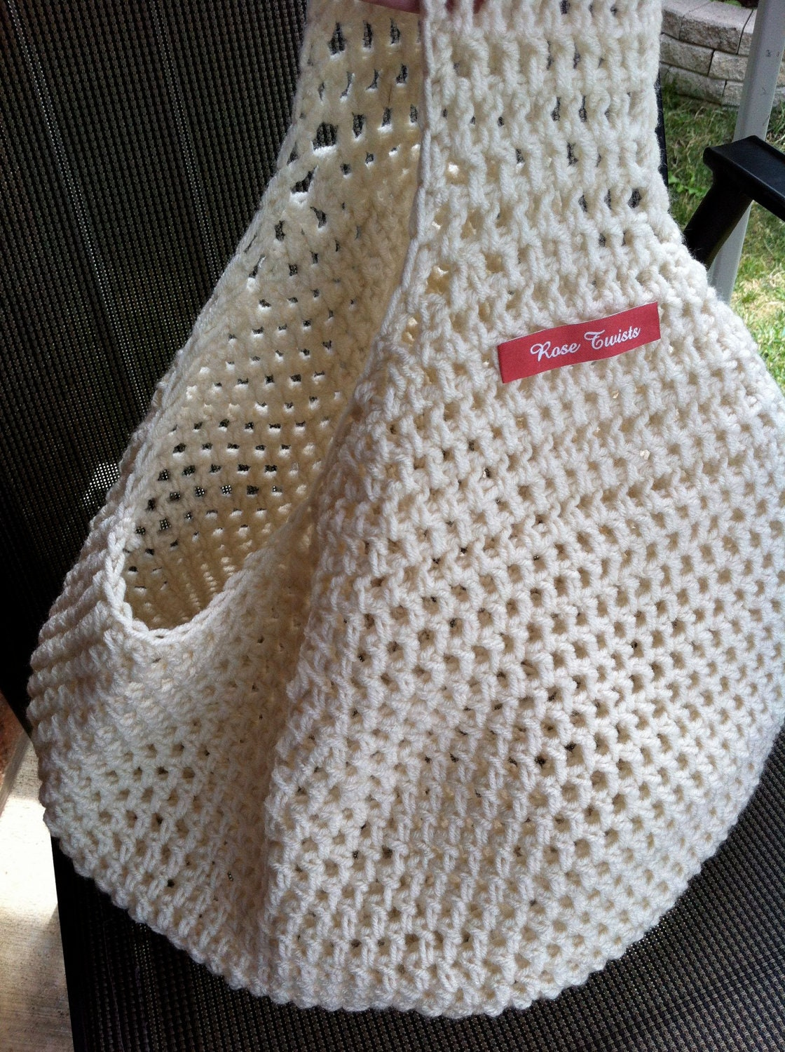 Crochet Farmers Market/Grocery Tote Bag Ivory by RoseTwists
