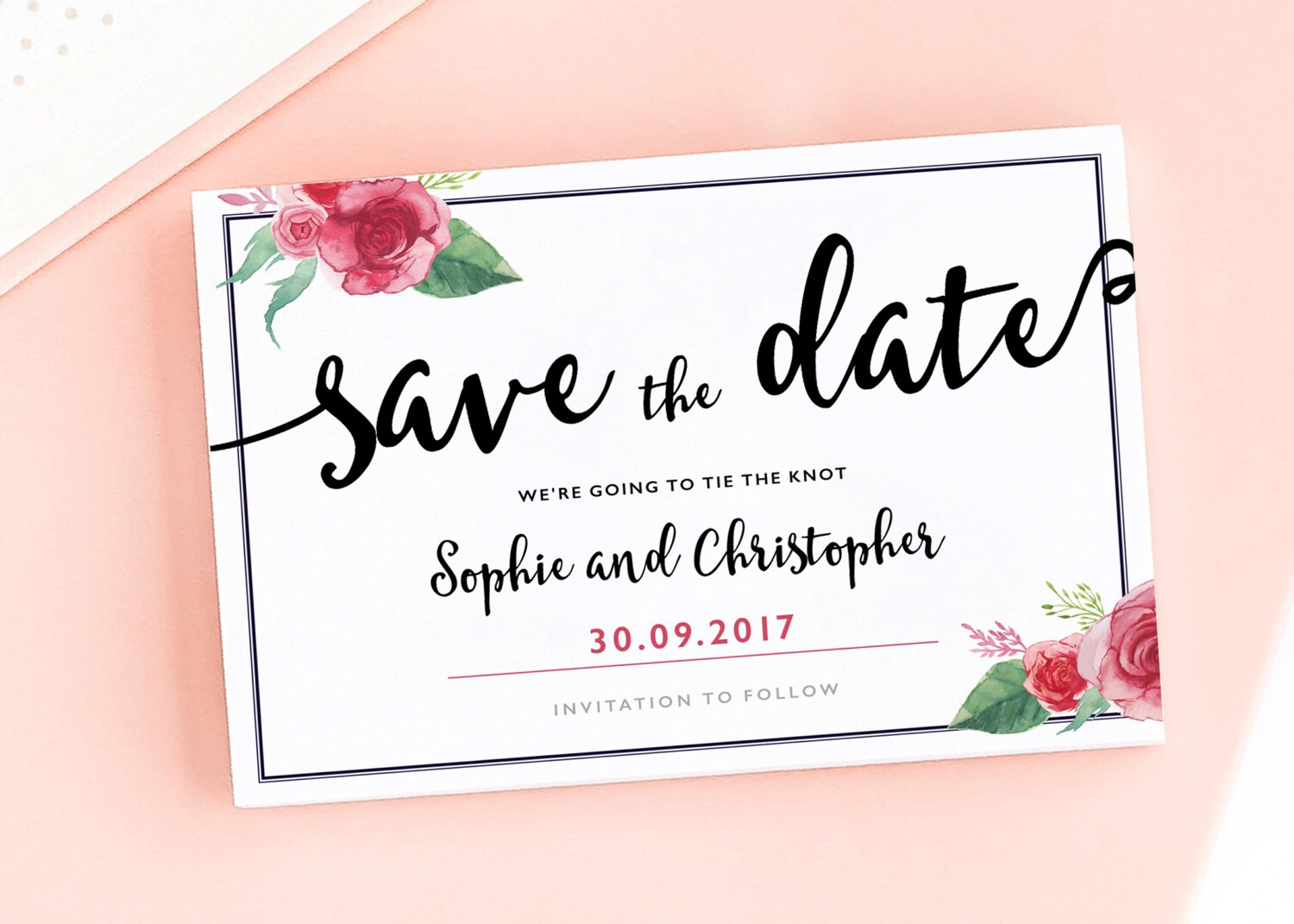 Rose Mellanie Save the DateWedding Announcement Cards