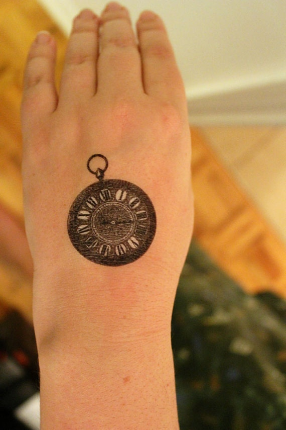 Items similar to Antique Pocket Watch Temporary Tattoo set of 2 ...