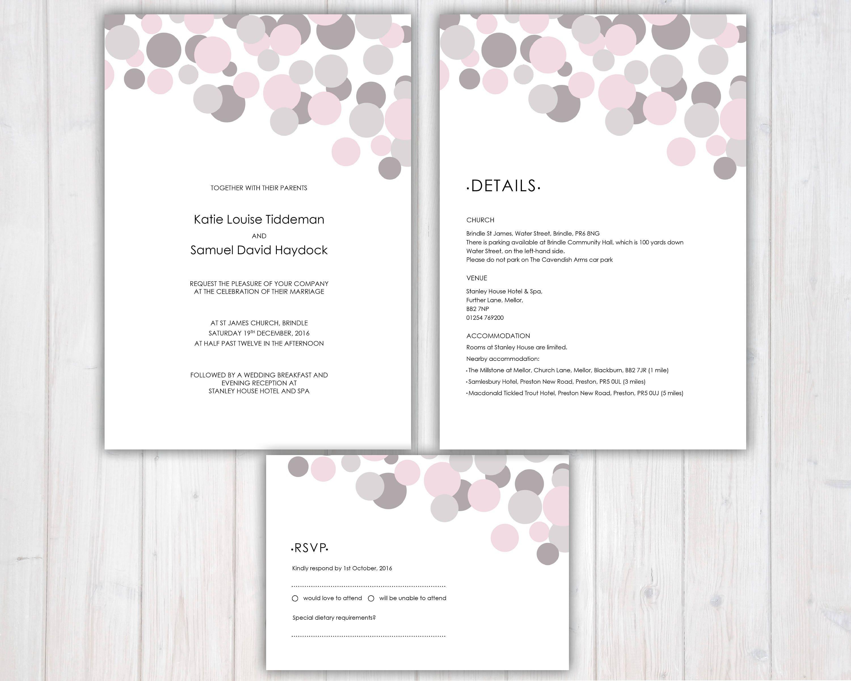 Modern Wedding Invitation set Wedding Invite RSVP Guest Information Pink and Grey
