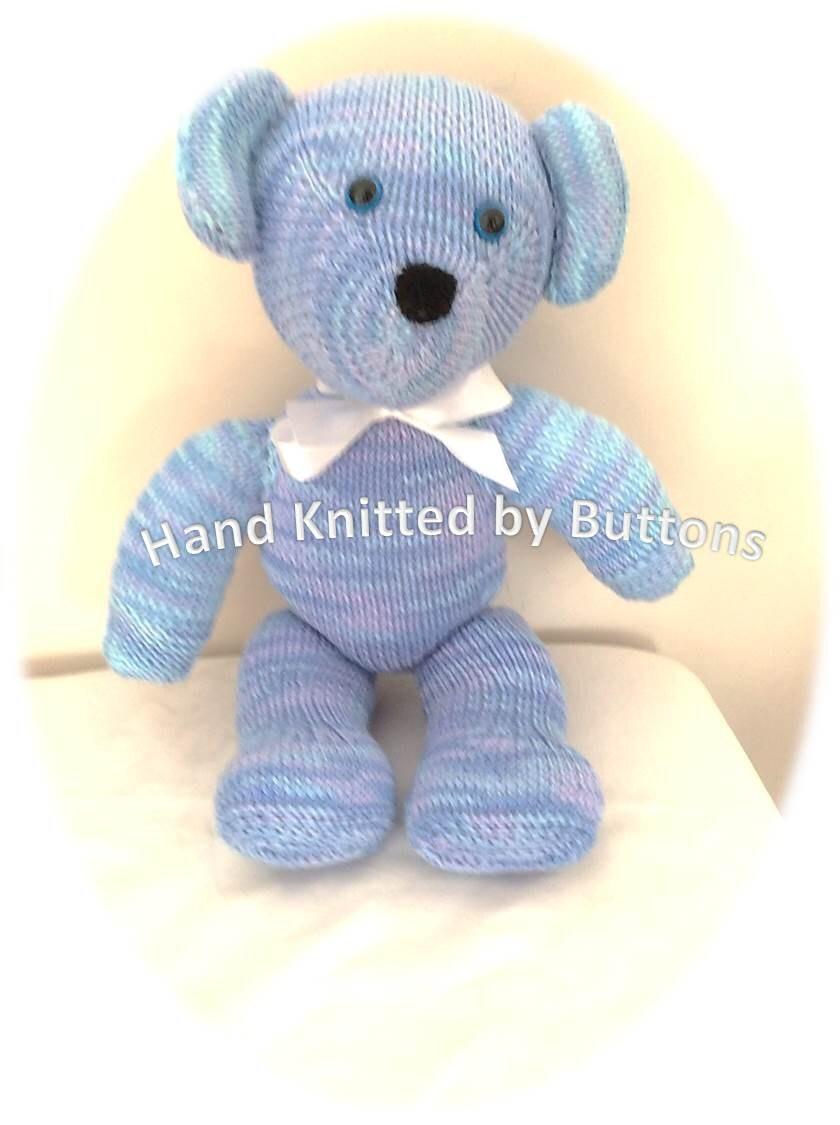 Hand Knitted Teddy bear Blue teddy bear CE tested teddy UK Seller Newborn giftChristening teddyHand knitted teddy Teddy Bear