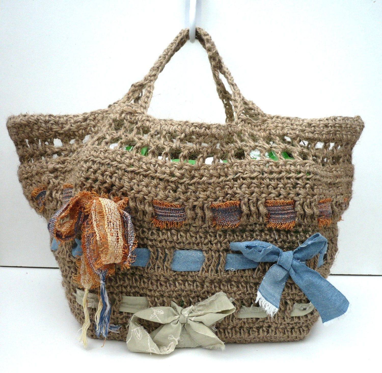 Strong Shopping Bag. Crocheted Jute Tote. by ...