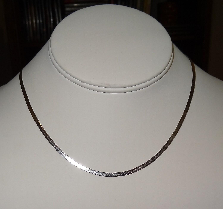 Vintage 14k white gold flat herringbone chain necklace by jimrabun