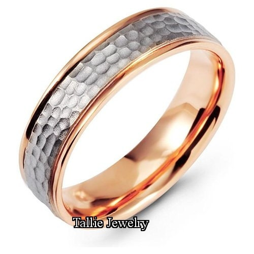 Mens 14K White And Rose Gold Wedding Band Ring By TallieJewelry