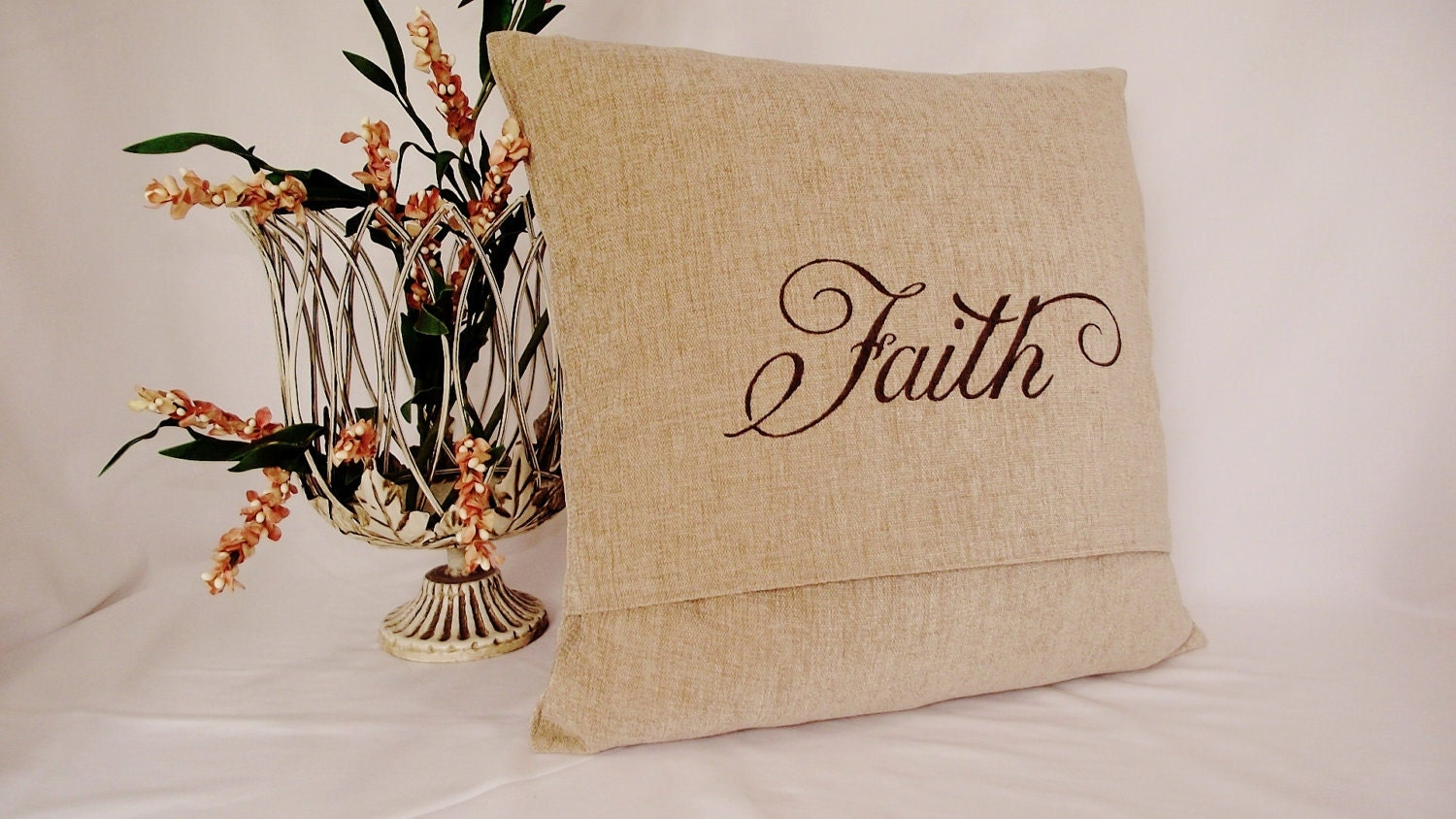 Pillow Cover 18x18 in Sand Colored Chenille with Hand Stenciled FAITH in Brown Paint