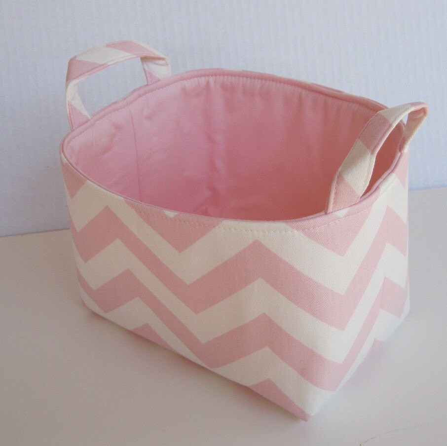 Fabric Organizer Storage Container Basket Bin - Light Pink and White Chevron