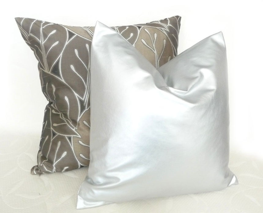 True Modern Pillows : Glam Silver Pillows Solid Silver Contemporary by PillowThrowDecor
