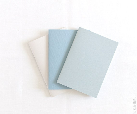 Pastel set of beige, blue and gray handmade notebooks (journals) - Buntmal
