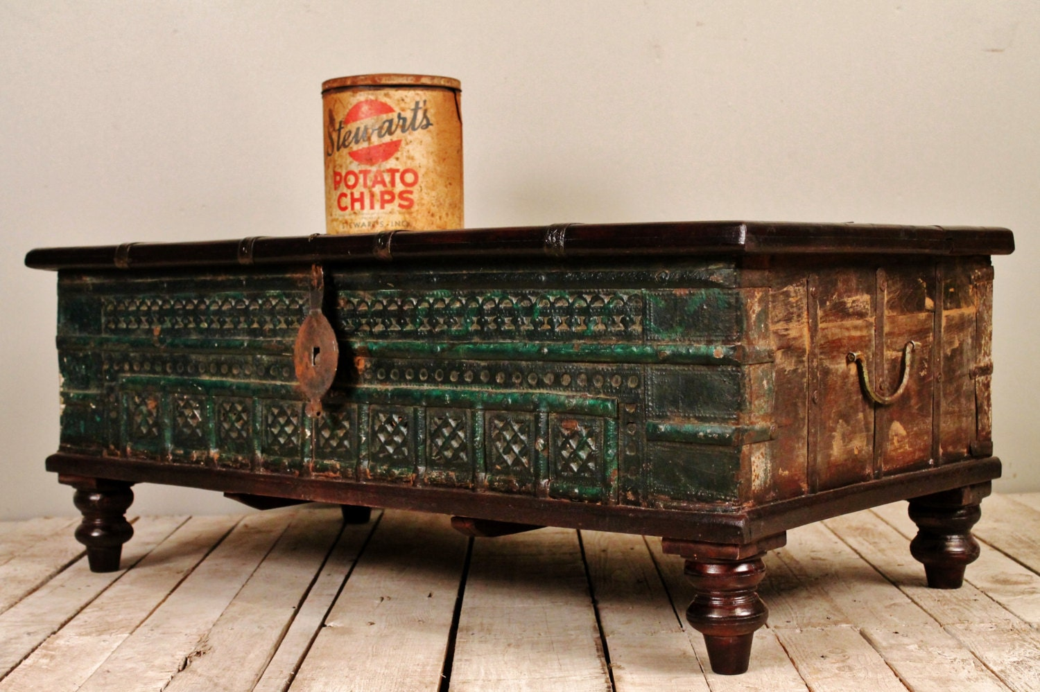 Dark green reclaimed salvaged antique by hammerandhandimports Indian trunk coffee table