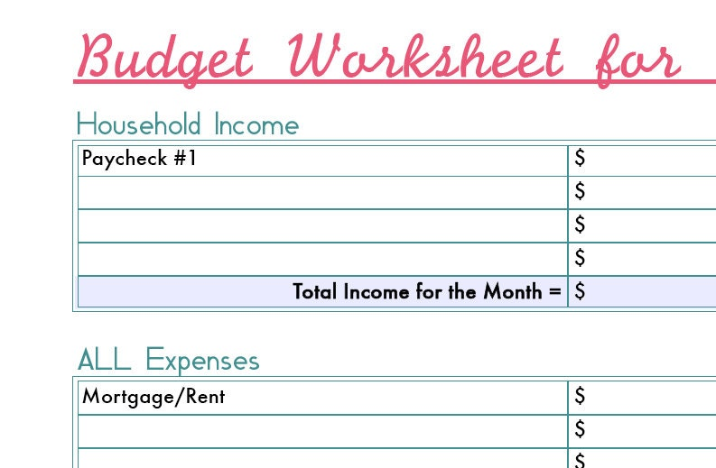 Monthly Budget Worksheet Printable Digital File by fadetheglitter