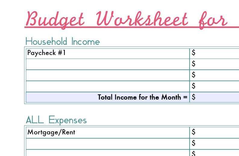 monthly budget worksheet printable digital file download monthly ...
