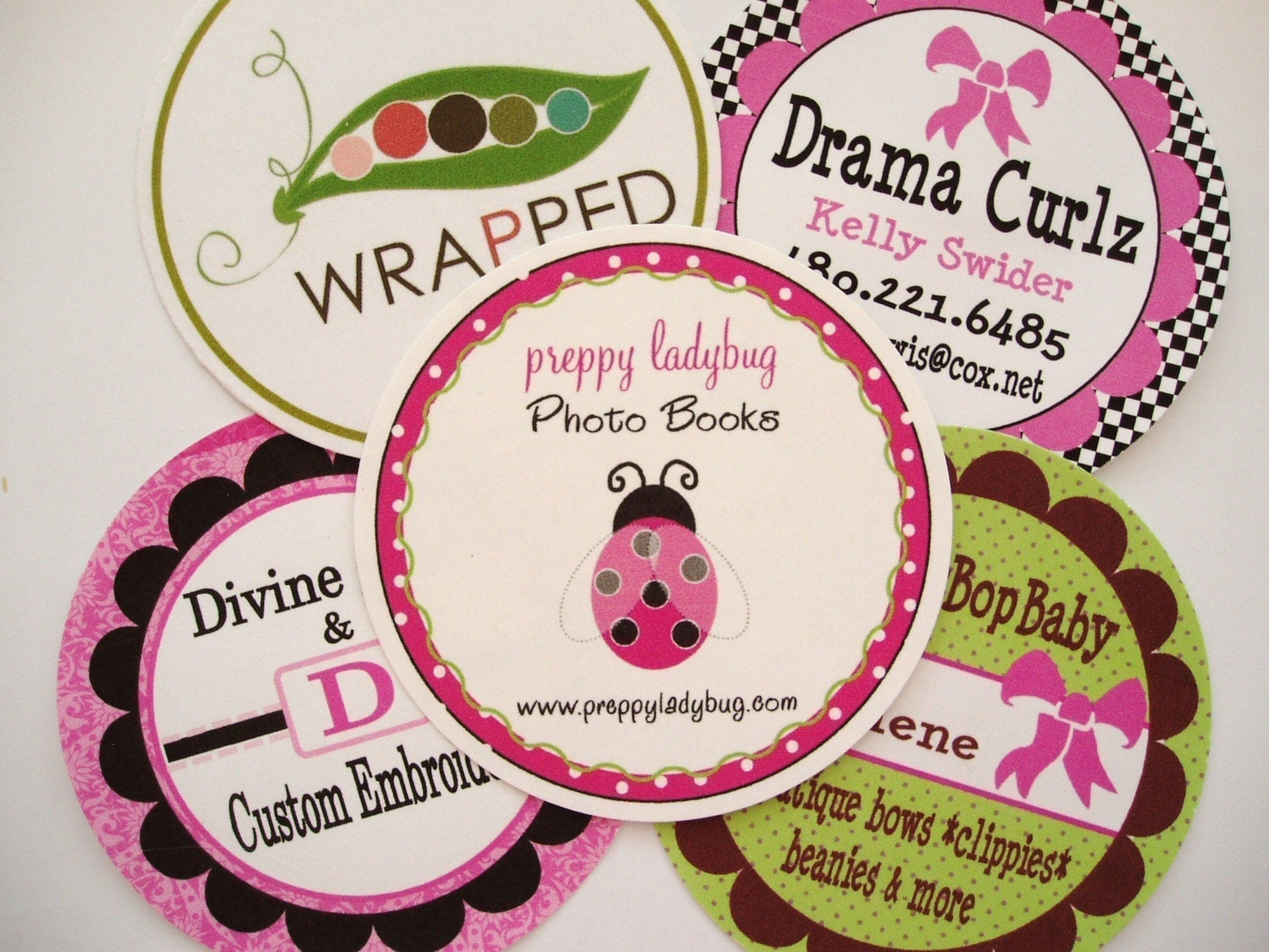 48 ROUND BUSINESS CARDS WITH MATCHING TIN by candicenkatiesart