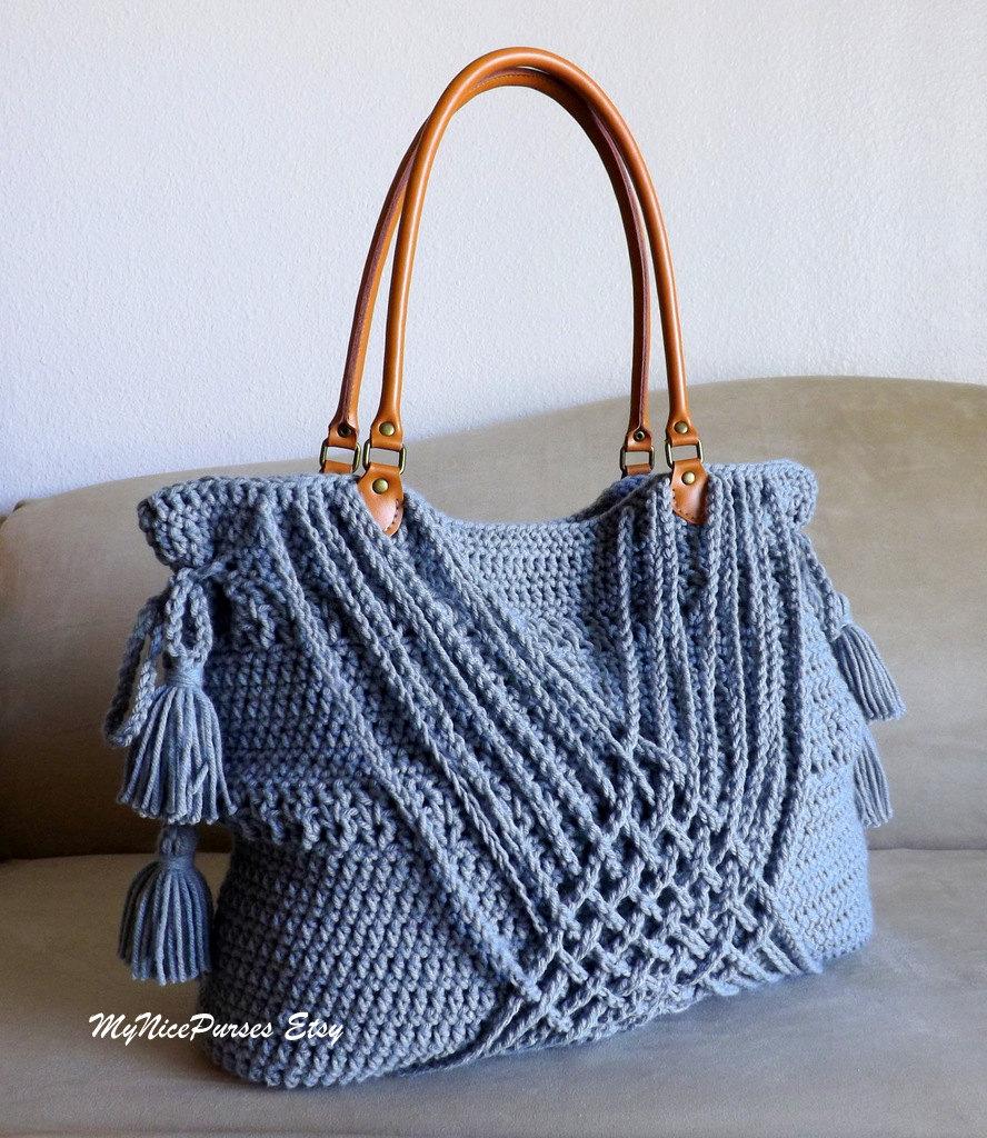 Crochet Tassel Bag : Crochet grey boho handbag with tassels, woven decoration and genuine ...
