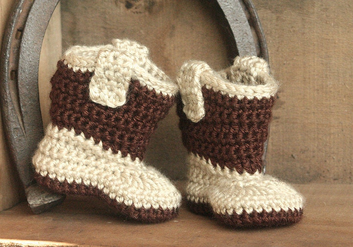 Free Crochet Patterns For Baby Girl Bonnets : Baby Cowboy Boots Crochet Cowboy Boots Baby Boy by BabyBLoved