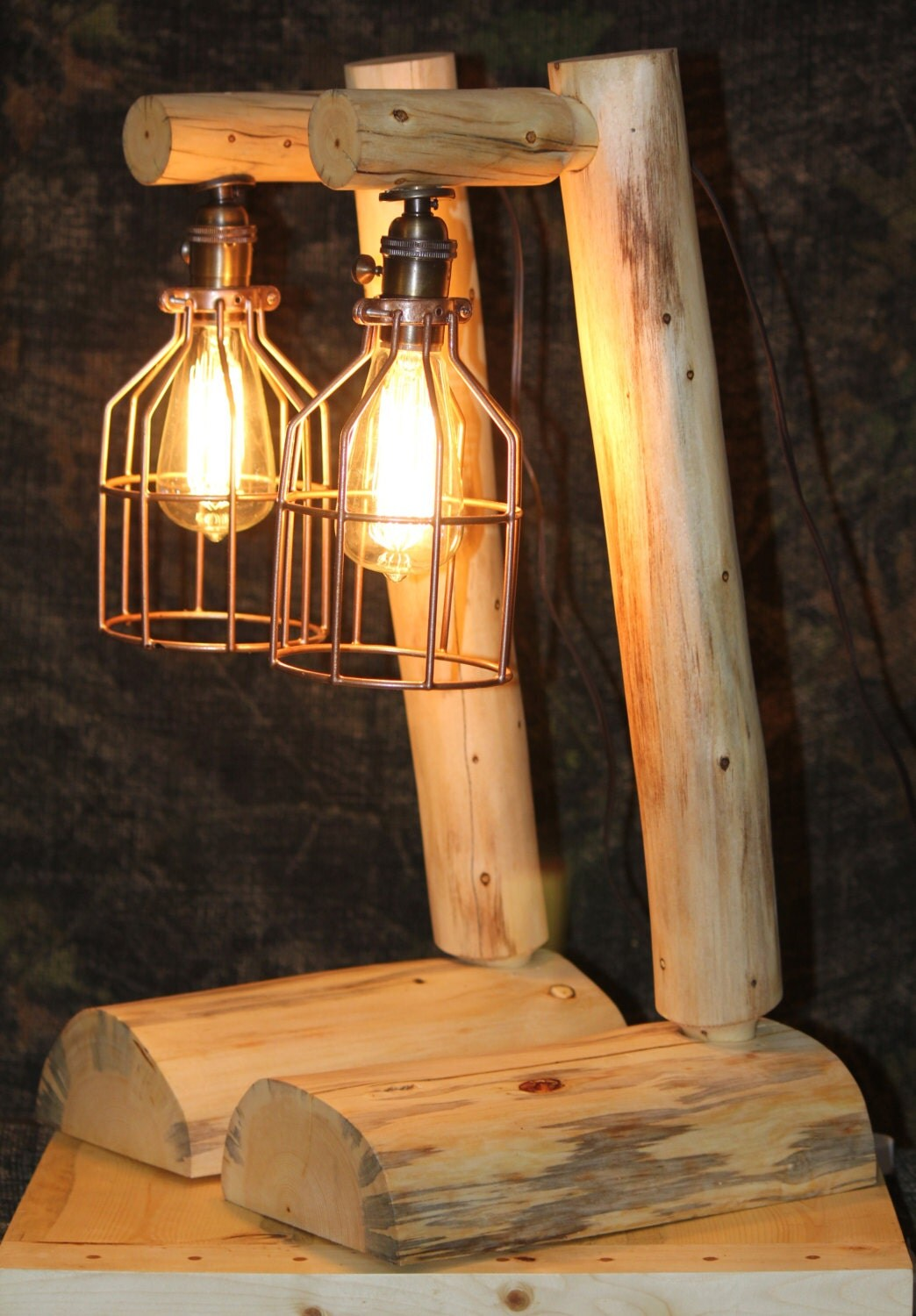 Rustic log lamps with brown cord and 60 by for Log cabin chandelier