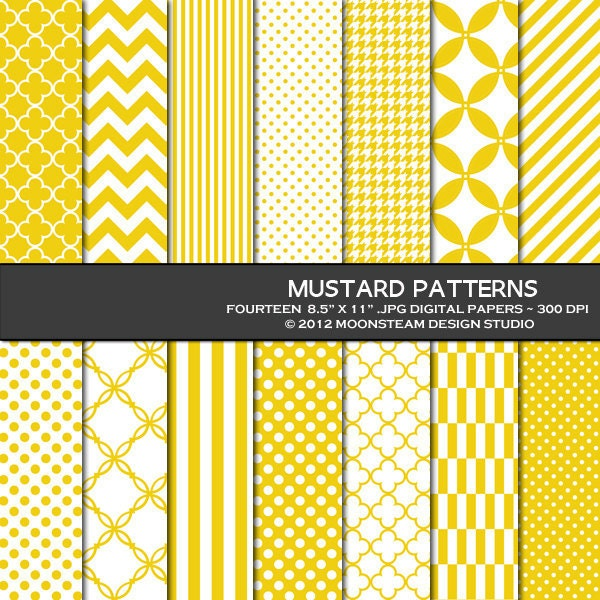 mustard yellow digital scrapbook paper by moonsteamdesign