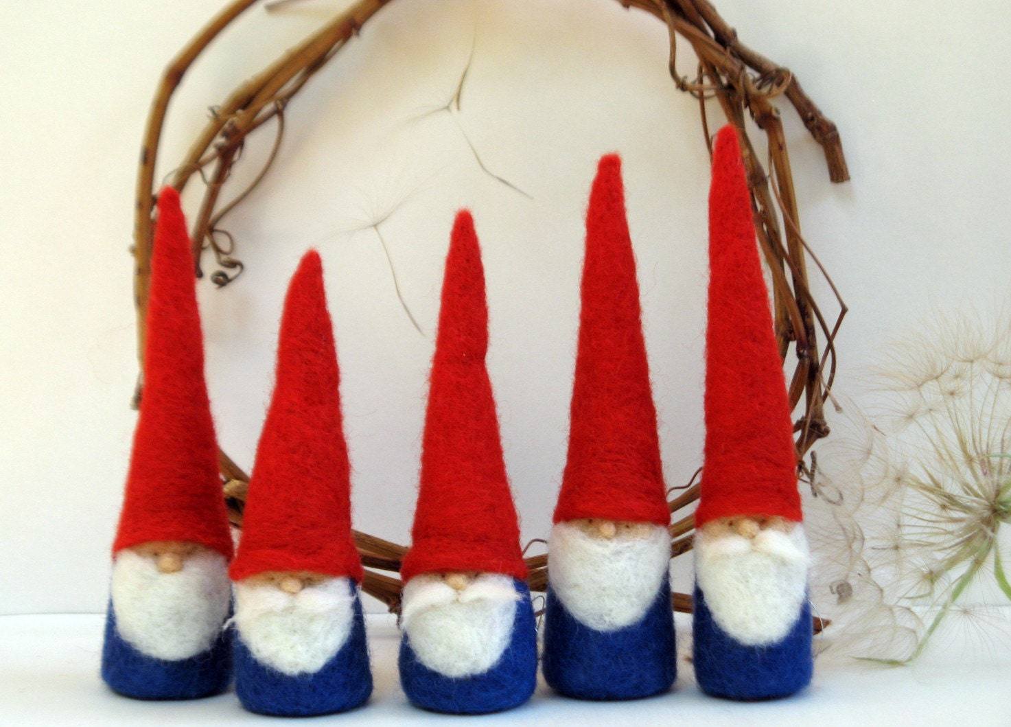 5 Felted Christmas Gnome figurine - Waldorf Inspired - myjacobsladder
