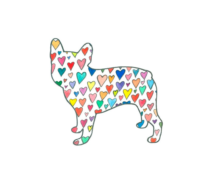 French Bulldog Silhouette Art Print Hearts By Lizlangley