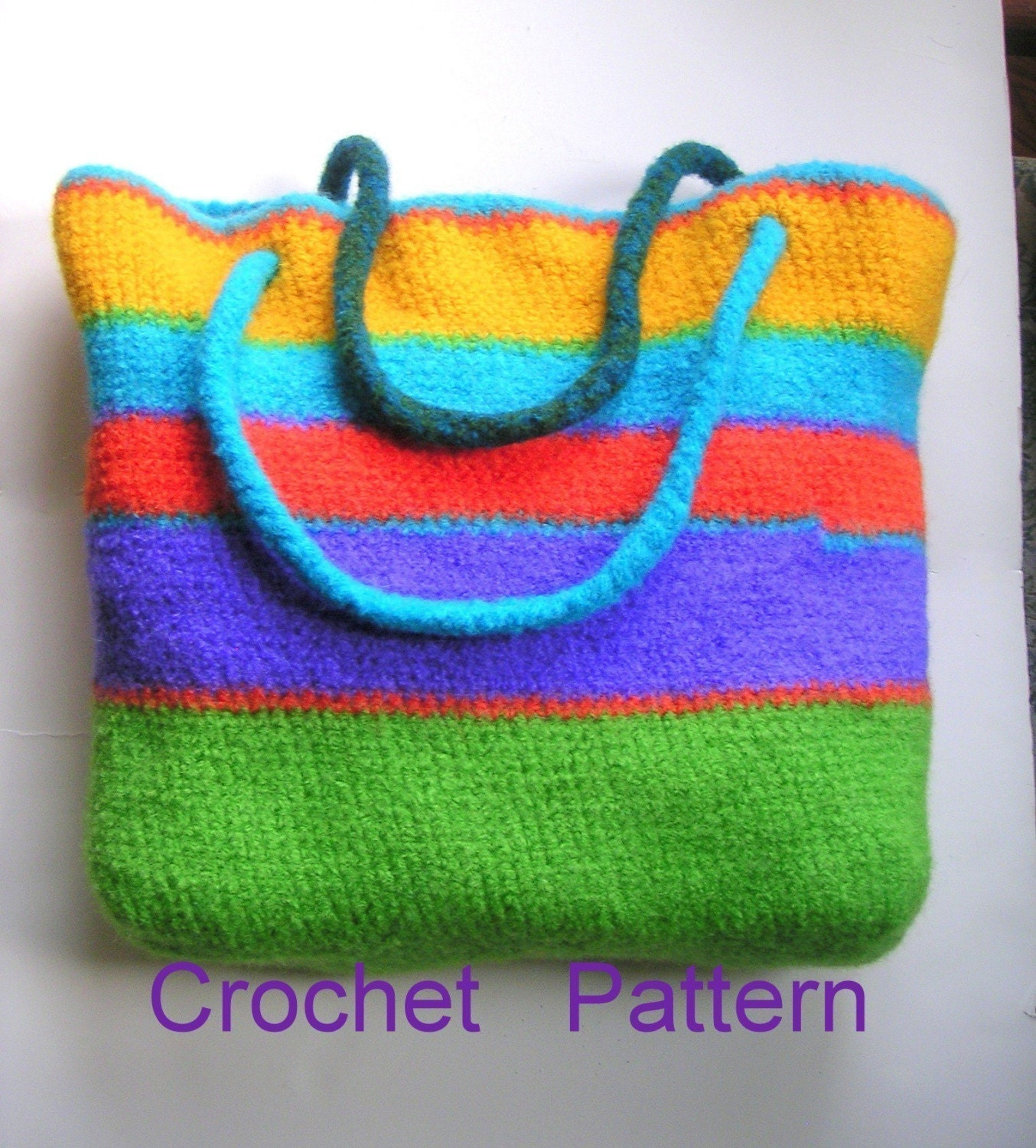 Beginner Crochet Tote Bag Pattern : Big Color Block Tote Bag - Crochet Felted Pattern pdf - Easy Beginner