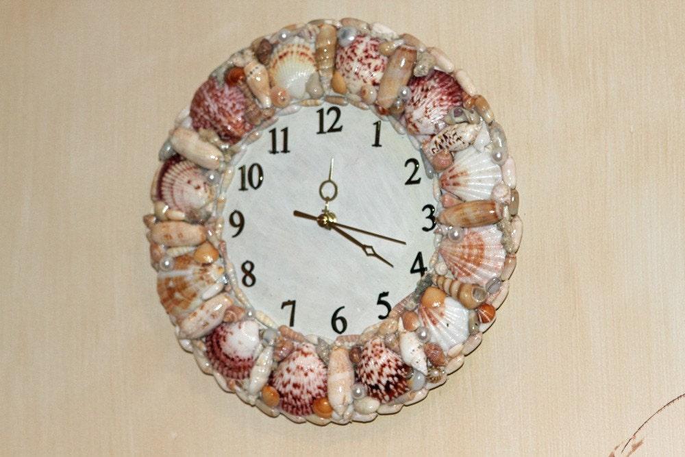 Seashell clock by creativelycarole on etsy for Seashell clock
