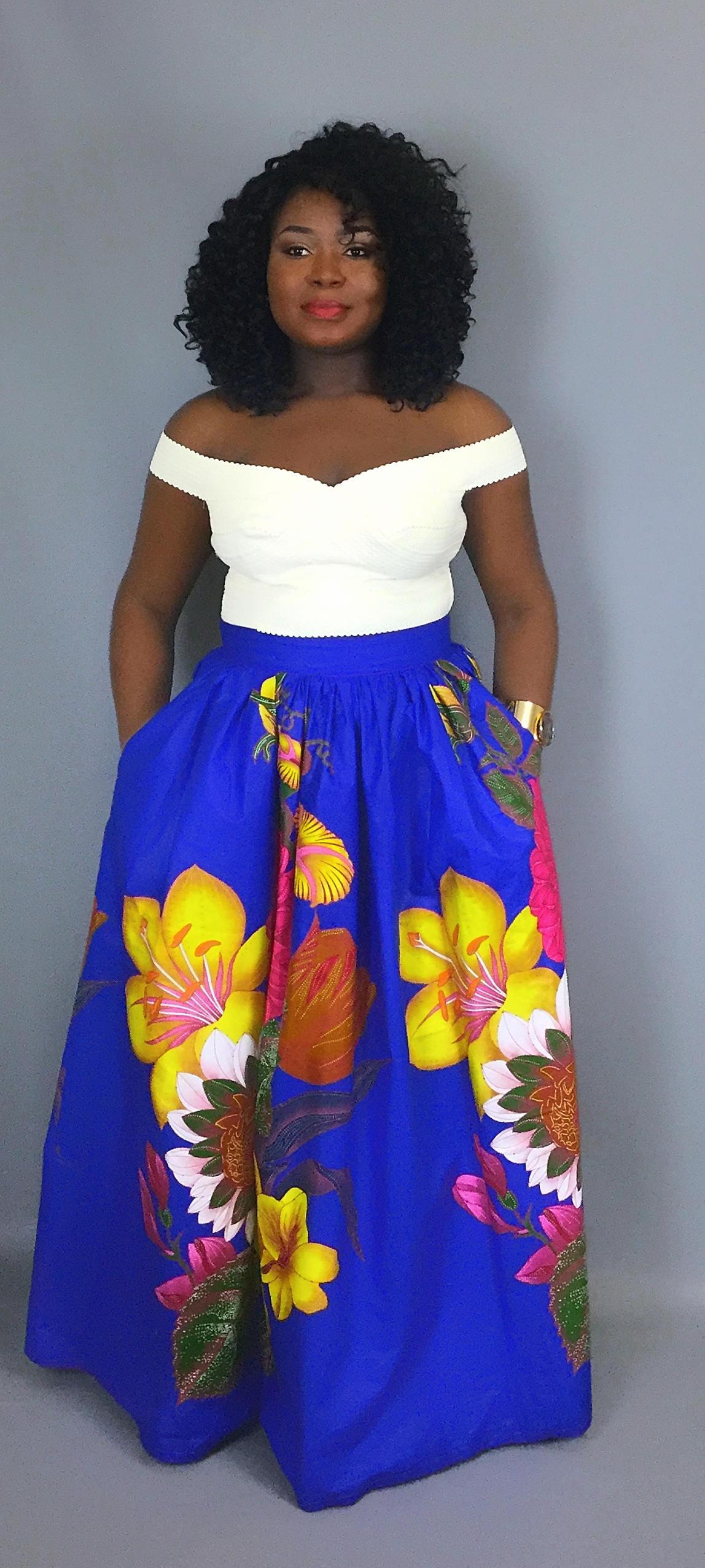 African blue floral print maxi skirtAfrican clothingAfrican skirtsdashiki skirtsdashiki skirts dressesclothingrobe waxAfrican dress