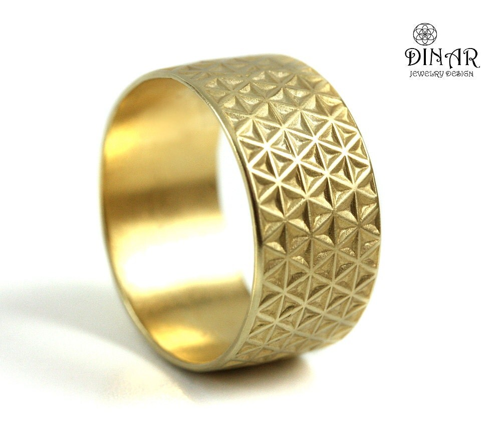 10mm wide gold wedding band textured wedding band by