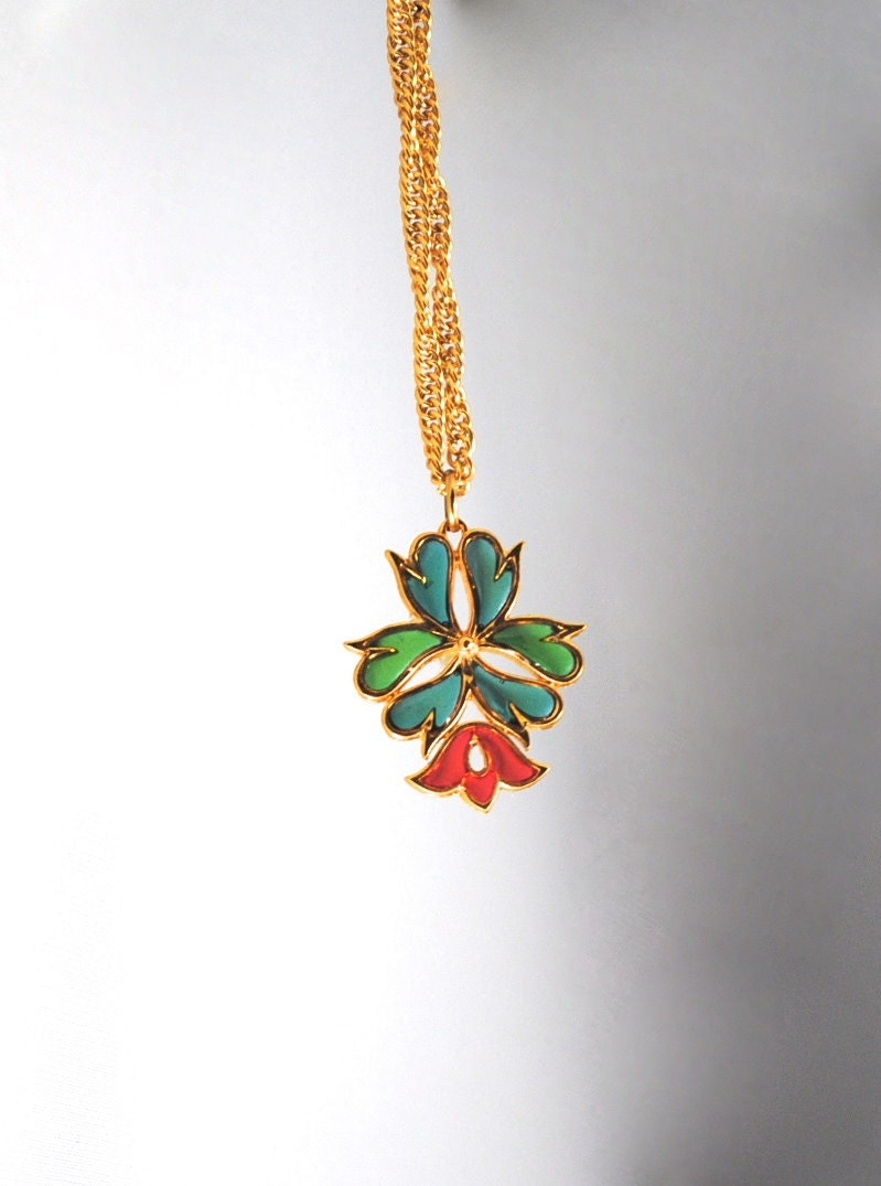 Rare Vintage Signed Trifari Plique a Jour Pendant 1960s Poured Glass Trifari Necklace - ErikasCollectibles