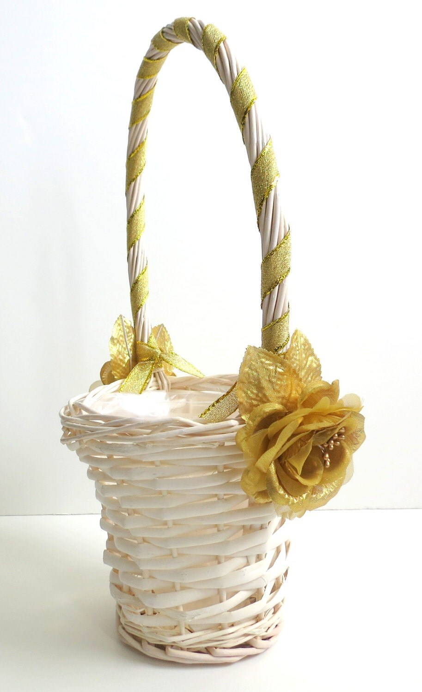 Flower Girl Baskets Fall : Flower girl basket ivory and gold by weddingsandwreaths