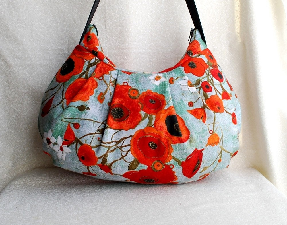 Pleated Bag // Shoulder Purse - Large Poppies in Teal