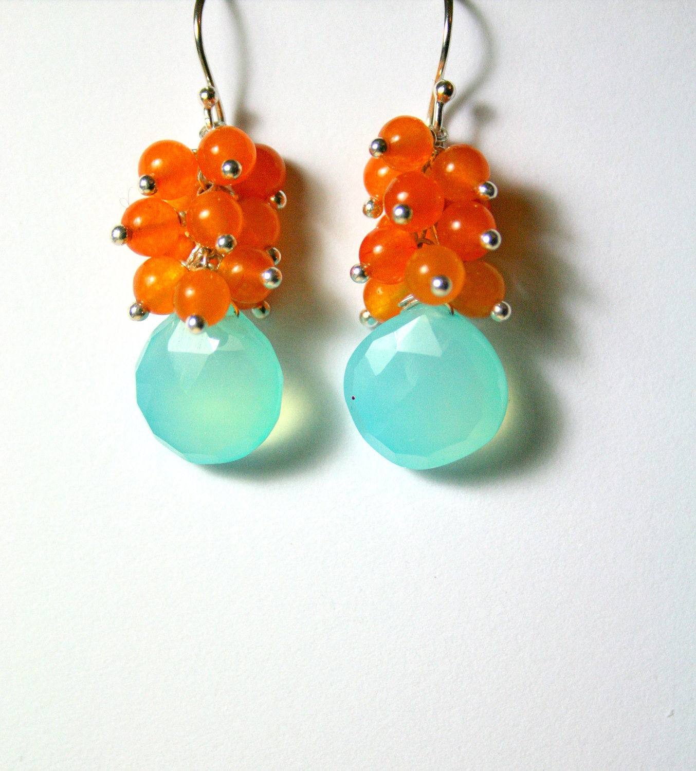 Aqua Gemstone Earrings, Orange Clusters, Sterling Silver