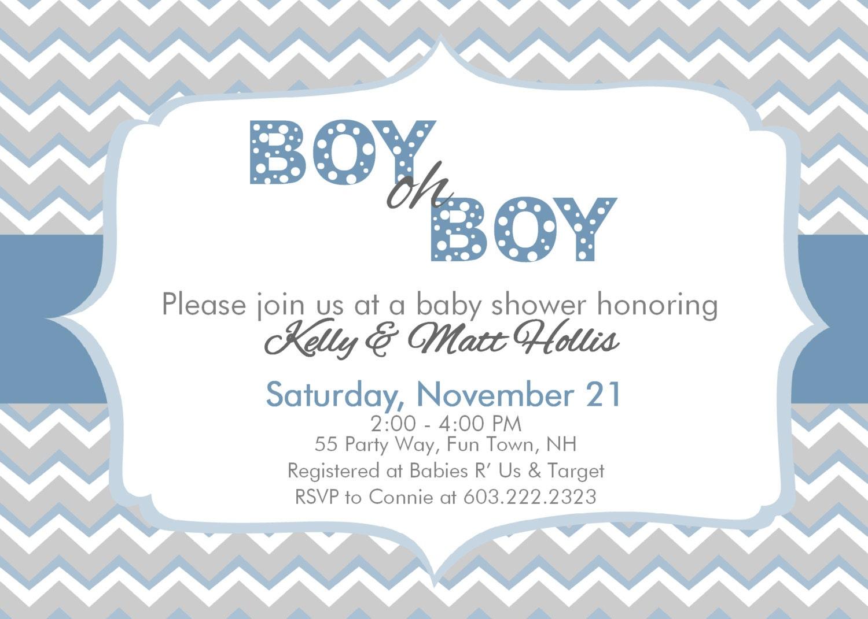 baby shower invitation chevron boy oh boy by asyouwishcreations4u