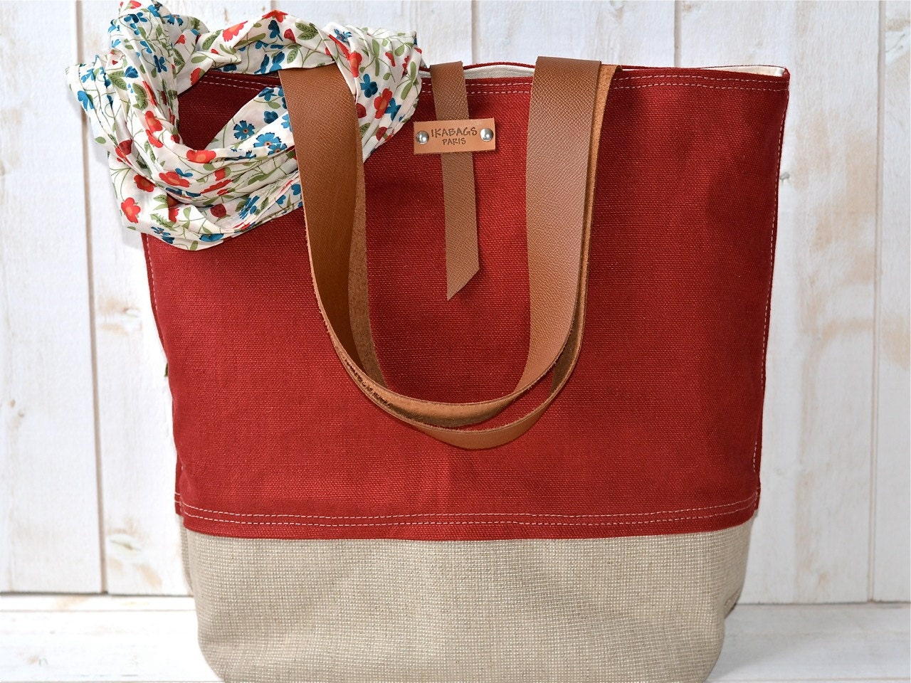 Eco friendly ORGANIC LINEN Large  French  RED tote bag  with Brown Leather strap / Market tote Bag