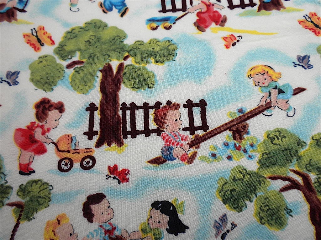 Vintage children 39 s novelty fabric kids in the park by for Kids novelty fabric