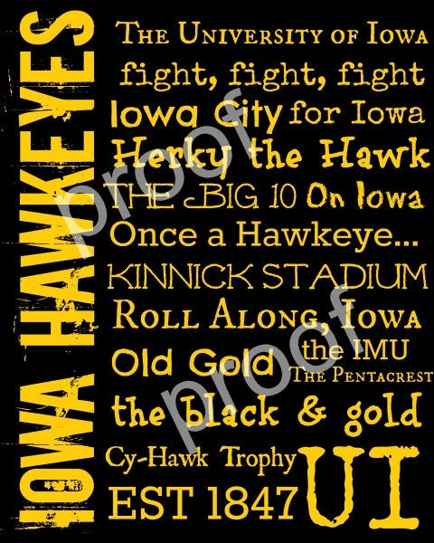 items similar to university of iowa hawkeyes subway art. Black Bedroom Furniture Sets. Home Design Ideas