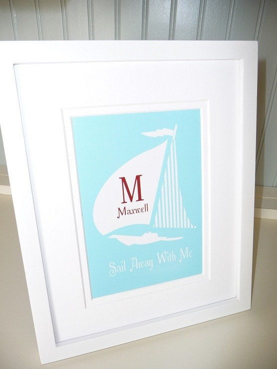 SAILBOAT art print CUSTOM Beach Coastal Nautical Sail Away With Me
