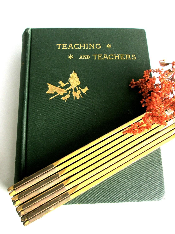 antique teacher book Sunday school religious vintage green home decor unique gift idea collectable 1800s - LemonRoseStudio