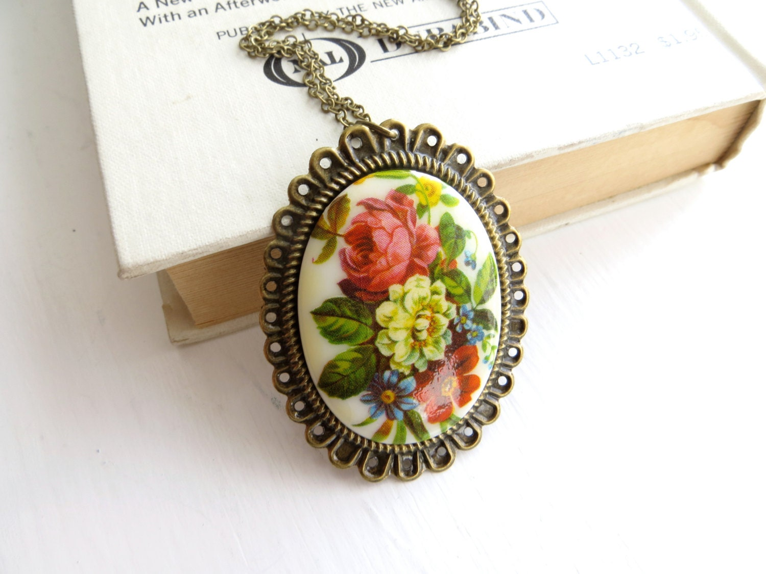 Vintage Flower Necklace - long necklace, cameo, garden, spring, neutrals
