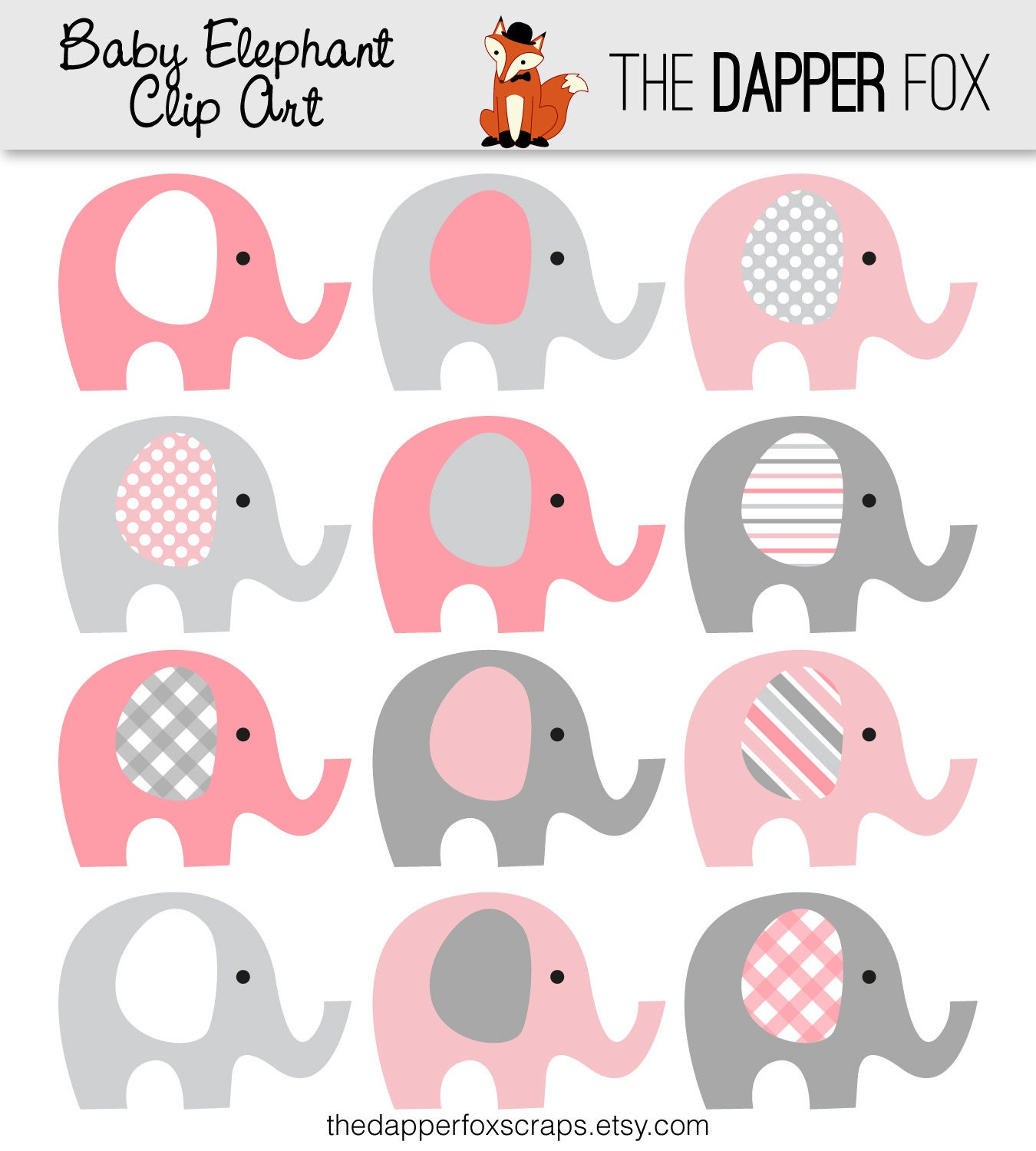 pink and grey elephant clip art instant by thedapperfoxscraps